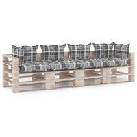 vidaXL Canapé palette à 4 places de jardin avec coussins Bois de pin