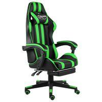 vidaXL Fauteuil de jeux vidéo avec repose-pied Noir et vert Similicuir