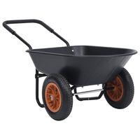 vidaXL Brouette Noir et orange 78 L 100 kg