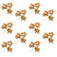 vidaXL 10 pcs Feuilles artificielles de raisin Rouge 70 cm