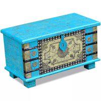 vidaXL Coffre de rangement Bois de manguier bleu 80 x 40 x 45 cm
