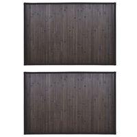 vidaXL Tapis de bain Bambou 2 pcs 60 x 90 cm Marron foncé