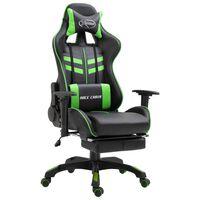 vidaXL Chaise de jeu avec repose-pied Vert Similicuir