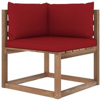 vidaXL Canapé d'angle palette de jardin avec coussins rouge bordeaux