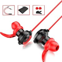 Écouteurs intra-auriculaires avec microphone amovible - noir / rouge