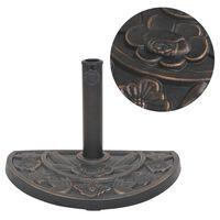 vidaXL Socle de parasol en résine demi-cercle Bronze 9 kg