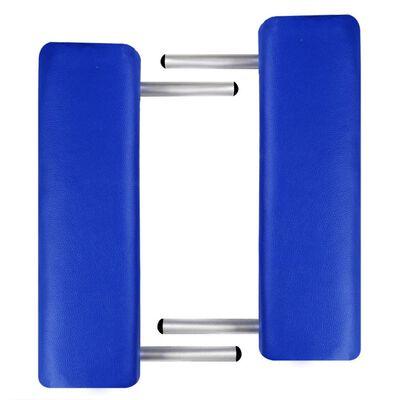 vidaXL Table pliable de massage Bleu 3 zones avec cadre en aluminium