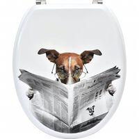 Siège De Toilette Pratique En Mdf - Blanc Avec Motif Chien Lit Journal