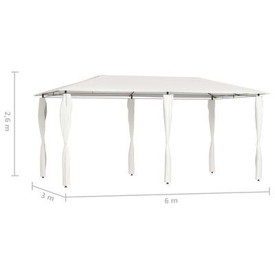 vidaXL Belvédère avec paroi latérale 3x6x2,6 m Crème 160 g/m²