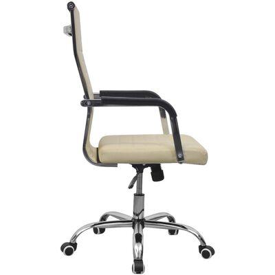 vidaXL Chaise de bureau Similicuir 55x63 cm Crème