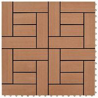 vidaXL Carreaux de terrasse 22 pcs 30 x 30 cm 2 m² WPC Marron