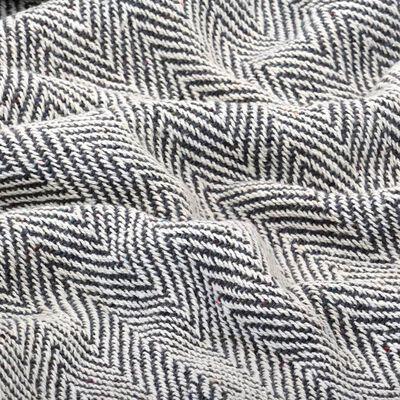 vidaXL Couverture coton à chevrons 160 x 210 cm Bleu marine