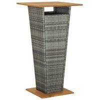vidaXL Table de bar Gris 60x60x110 cm Résine tressée et bois d'acacia