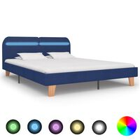 vidaXL Cadre de lit avec LED Bleu Tissu 180 x 200 cm