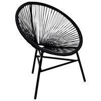 vidaXL Chaise de jardin forme de lune Résine tressée Noir