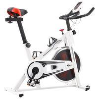 vidaXL Vélo d'appartement avec capteurs de pouls Blanc et rouge