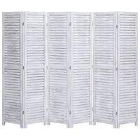 vidaXL Cloison de séparation 6 panneaux Gris 210x165 cm Bois