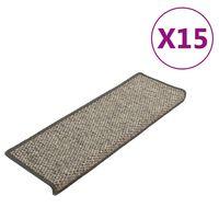 vidaXL Tapis d'escalier autocollants 15 pcs 65x25 cm Gris et beige