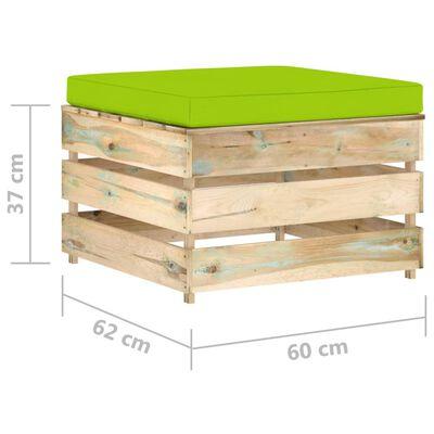 vidaXL Pouf sectionnel avec coussin Bois imprégné de vert