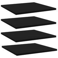 vidaXL Panneaux de bibliothèque 4 pcs Noir 40x40x1,5 cm Aggloméré