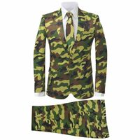 vidaXL Costume 2-pièces avec cravate pour hommes Camouflage Taille 52
