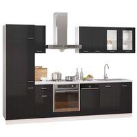 vidaXL Ensemble de meubles de cuisine 8 pcs Noir brillant Aggloméré