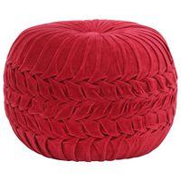 vidaXL Pouf Velours de coton Design de sarrau 40 x 30 cm Rouge