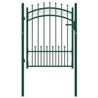 vidaXL Portail de clôture avec pointes Acier 100x125 cm Vert