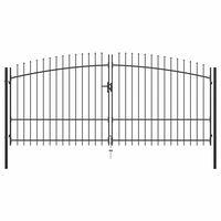 vidaXL Double portail avec haut sous forme de lance 400 x 225 cm