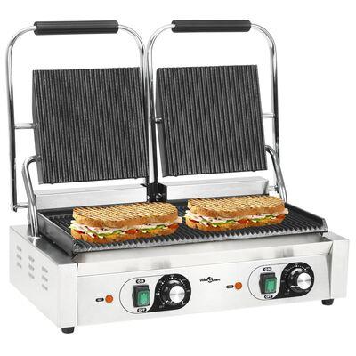 vidaXL Gril de panini à double rainure 3600 W 58 x 41 x 19 cm