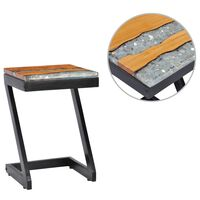 vidaXL Table basse 30 x 30 x 50 cm Bois de teck massif et polyrésine