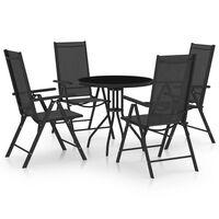 vidaXL Ensemble à dîner de jardin 5 pcs Aluminium et textilène Noir