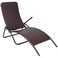 vidaXL Chaise longue pliable Rotin synthétique Marron