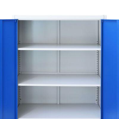 vidaXL Armoire de bureau Métal 90 x 40 x 180 cm Gris et bleu