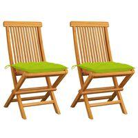 vidaXL Chaises de jardin avec coussins vert vif 2 pcs Bois de teck
