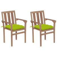 vidaXL Chaises de jardin 2 pcs avec coussins vert vif Bois de teck