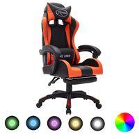 vidaXL Fauteuil de jeux vidéo avec LED RVB Orange et noir Similicuir