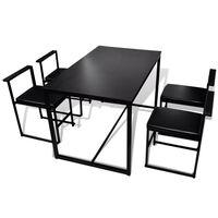 vidaXL Ensemble de table et de chaises de salle à manger 5 pièces Noir