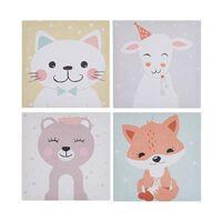 Set de 4 toiles imprimées motif animaux multicolores 30 x 30 cm BOMBI