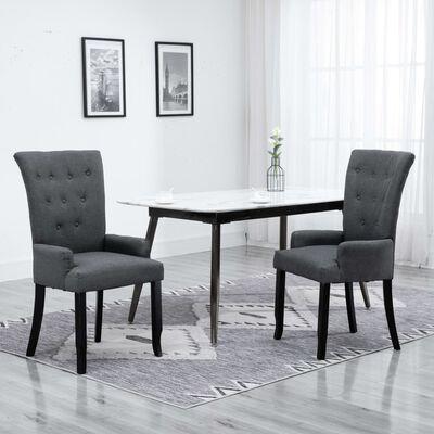 vidaXL Chaises de salle à manger avec accoudoirs 2pcs Gris foncé Tissu