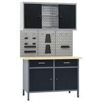 vidaXL Établi avec 3 panneaux muraux et 1 armoire