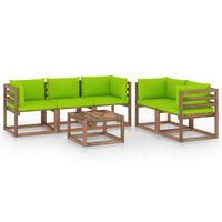 vidaXL Salon de jardin 6 pcs avec coussins vert vif