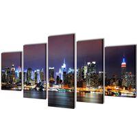 Set de toiles murales imprimées Horizon de New York coloré 100 x 50 cm