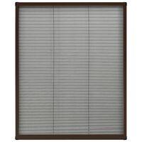 vidaXL Moustiquaire plissée pour fenêtre Aluminium Marron 60x80 cm