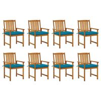 vidaXL Chaises de jardin avec coussins 8 pcs Bois d'acacia solide