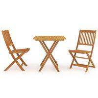 vidaXL Mobilier à dîner de jardin pliable 3 pcs Bois d'acacia solide