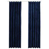 vidaXL Rideaux occultants et crochet 2pcs Velours Bleu foncé 140x225cm
