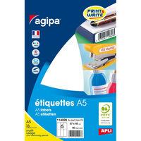 Etiquettes blanches 16 feuilles A5 97x46mm 96 pièces - APLI AGIPA