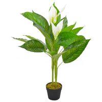 vidaXL Plante artificielle Anthurium avec pot Blanc 90 cm