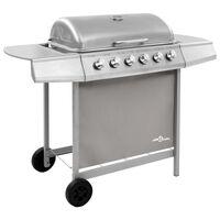 vidaXL Barbecue gril à gaz avec 6 brûleurs Argenté